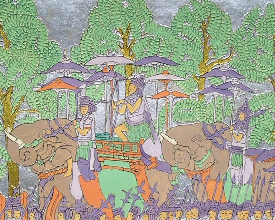 L'attribut alt de cette image est vide, son nom de fichier est Comparaison-1930-Elephant-Procession-at-Angkor-Wat-central-panel-detail.jpg.