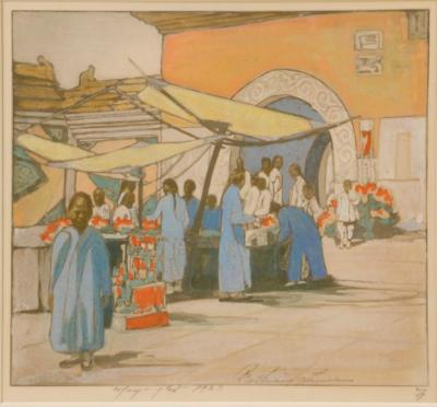 1923 (cat 85) Lung Fu Sou, Chinese Curio Market with opaque watercolor over photography