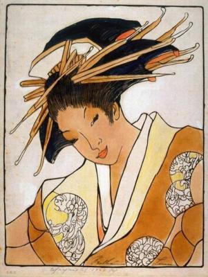 1924 (cat 095) Geisha (raised lines)
