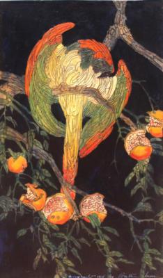 1924 (cat 121) Pomegranate (raised lines)