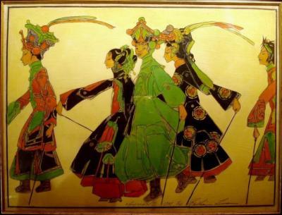1925 (cat 126) Promenade of the Marionettes (raised lines)