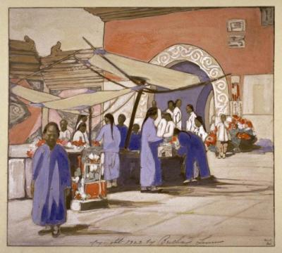 1923 (cat 84) Lung Fu Sou, Chinese Curio Market (peinture à l'eau opaque par dessus une photographie)