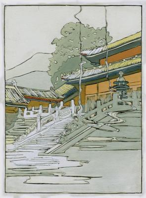 1924 (cat 110) Tan Shi Sou, White Snake Temple (en relief)