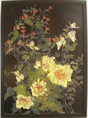 1924 (cat 117) Peonies (en relief)