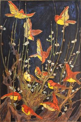 1924 (cat 118) Birds (en relief)