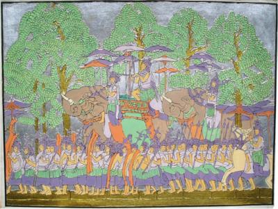 Comparaison 1930 Elephant Procession at Angkor Wat central panel